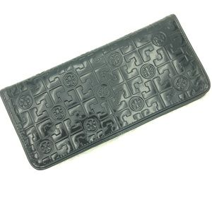 Tory Burch Clutch Wallet Black Embossed Patent
